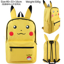 Pocket Monster Pokmon Pikachu Canvas Shoulder Backpacks Bags(China)
