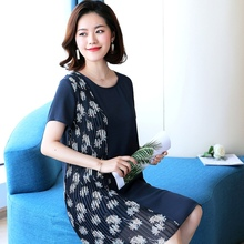 2018 summer o-neck short sleeve dress blue fold print flower womans knee-length dresses plus size fashion ladies