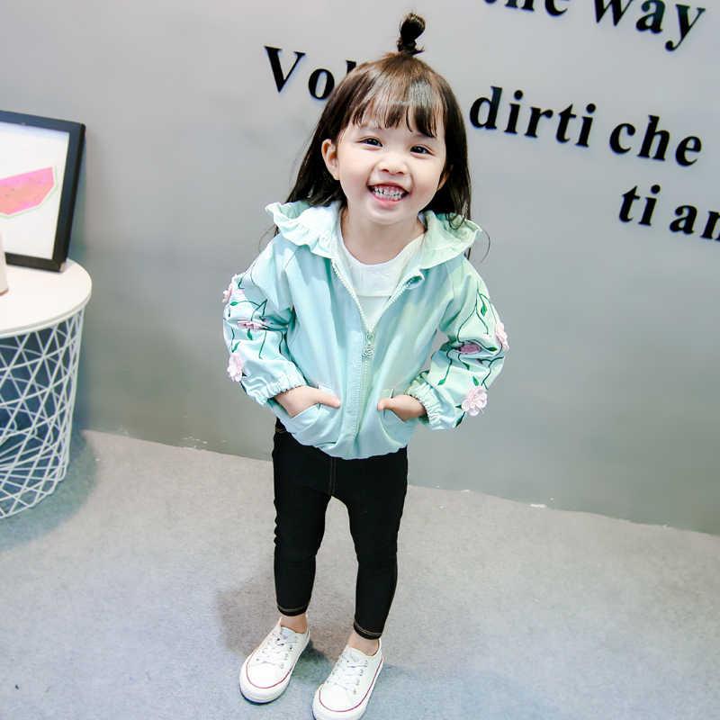 Новое Детское весенне-осеннее пальто для девочек, одежда кардиган на молнии с капюшоном и вышитыми цветами, ветровка, свободная детская повседневная куртка