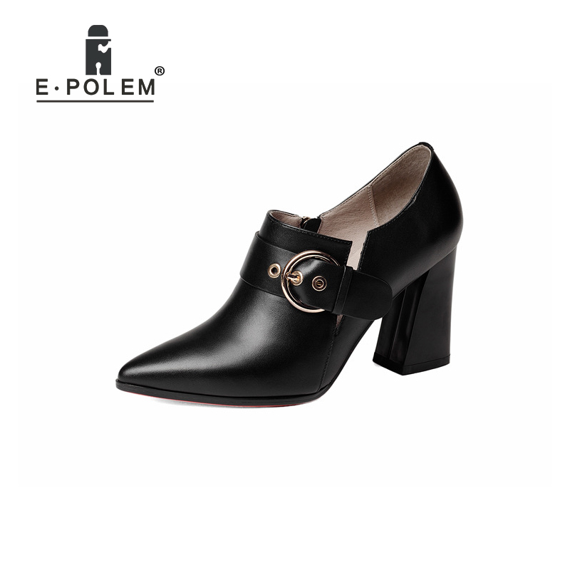 Punk Buckle Female Genuine Leather Pointed Toe High Heel Shoes  Boots Zip Ankle Boots Square Heels Women Fashionable BootiPunk Buckle Female Genuine Leather Pointed Toe High Heel Shoes  Boots Zip Ankle Boots Square Heels Women Fashionable Booti