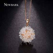 NEWBARK Lovely Flower Cluster Pendant Women Necklace Pink Rose Gold Plated Acrylic Plastic And Crystal Jewelry