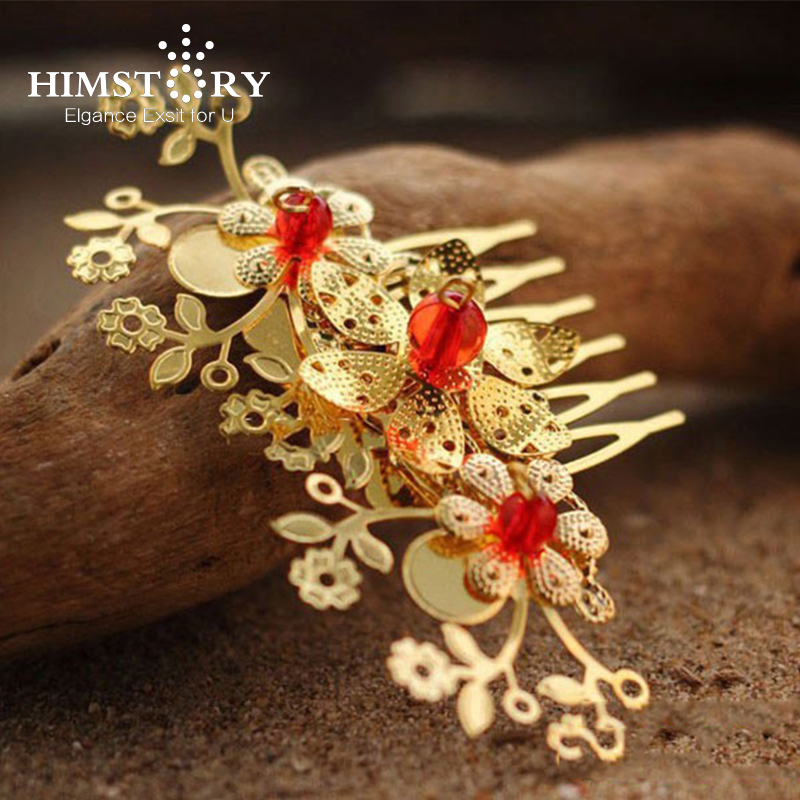 HIMSTORY Chinese Style Gold Lovely Flower Red Beads Wedding Hair comb,Red Wedding Hair Accessories Costume Bridal hairpins