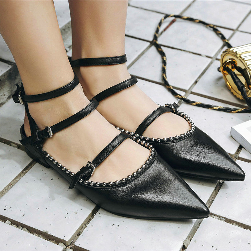 ФОТО AIWEIYi Woman Shoes Spring Autumn 2017 Pointed Toe Flats Genuine Leather Shoes Buckle Strap Sheepskin Leisure Casual Shoes Women