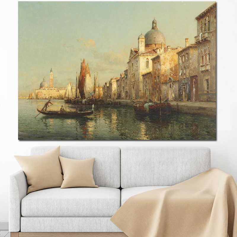 Print Cuadros Resorts Vintage Water Town Venice Seascape Oil Painting on Canvas Poster Modern Wall Art Pictures for Living Room