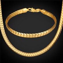 Oro amarillo Plateado de La Serpiente Pulsera de Cadena Y Collar Set 2016 Sistema de La Joyería de Traje de Moda Para Los Hombres Del Partido Del Regalo NH1568