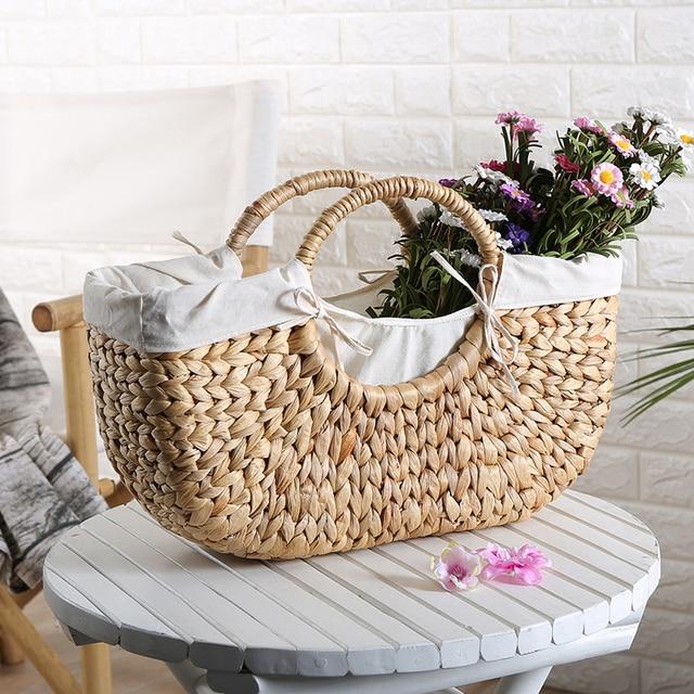 Water Hyacinth Storage Basket Handmade Straw Bag Outdoor Beach Straw  Braided Woven Beach Bag Storage Basket