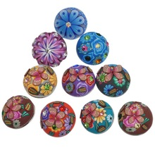 30Pcs Mixed Polymer Clay Flower Pattern Round Click Snap Press Buttons Rhinestone Crafts Making 19mm