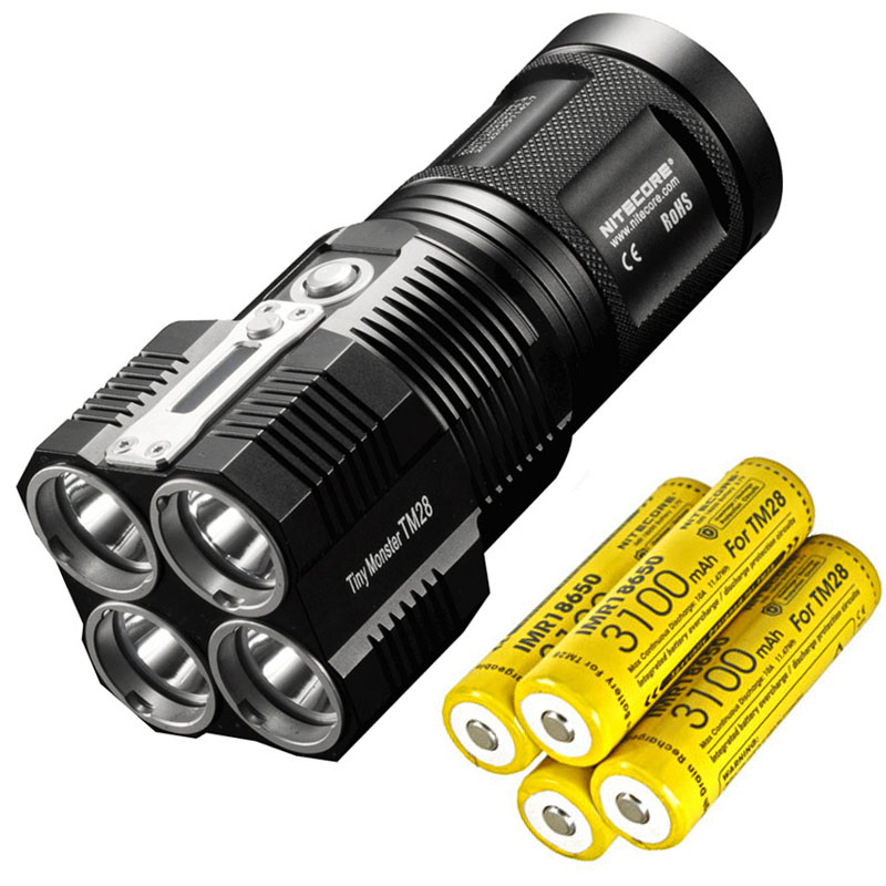 NITECORE TM28 4 *CREE XHP35 HI  6000LM beam distance 655M LED Flashlight with Charger and 4pcs 18650 3100mAh li-ion batteries new klarus xt11gt cree xhp35 hi d4 led 2000 lm 4 mode tactical led flashlight free usb port and 18650 battey for self defence