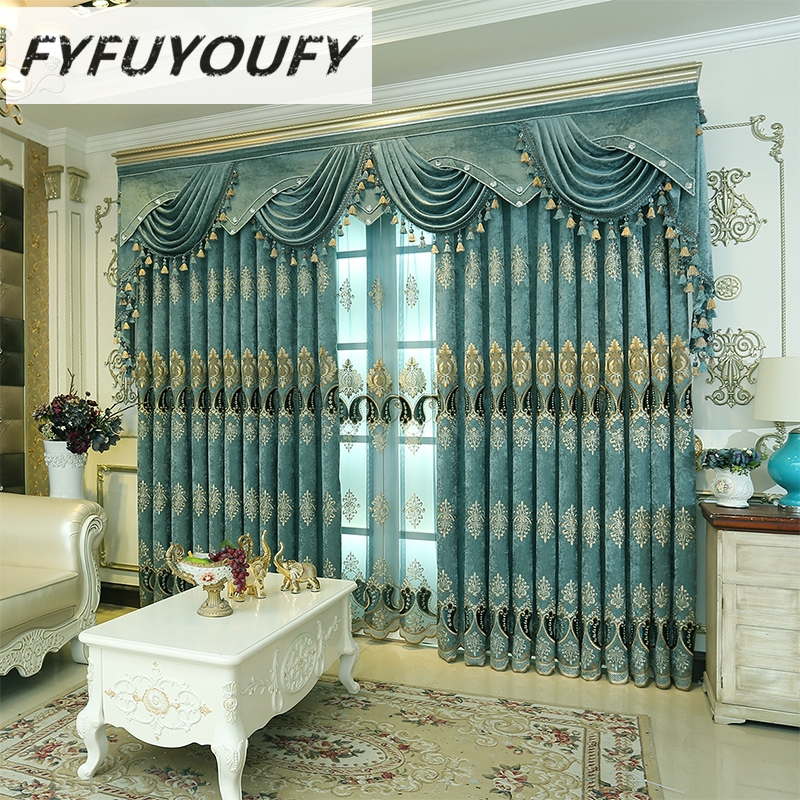 FYFUYOUFY European style curtain for living room bedroom windows fabric Luxurious embroidery tulle curtains blackout curtains