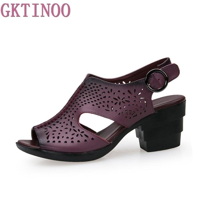 2018 Новая Летняя женская обувь из натуральной кожи на толстом каблуке, женские сандалии с вырезами в стиле ретро, сандалии ручной работы, sapato