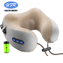 Multi-functional rechargeable neck and shoulder U type musical electric heated vibration kneading massage pillow
