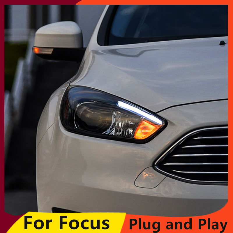 KOWELL Car Styling for Ford Focus Headlights 2015 2018 Focus3 LED Headlight DRL Bi Xenon Lens