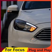 KOWELL Car Styling dla Ford Focus reflektory 2015 2018 Focus3 LED reflektor DRL soczewki biksenonowe wysoka martwa wiązka Parking przeciwmgielne