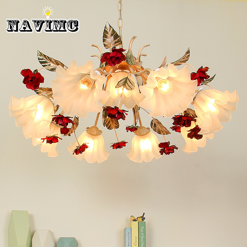 Pastoral style Korean wrought iron pendant light pink rose flower bedroom dining room hanging lighting lamp