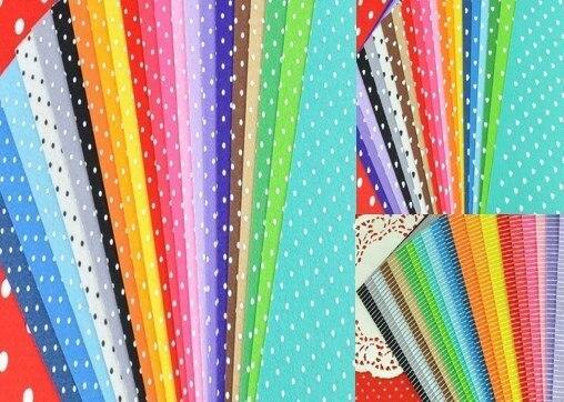 60pcs felt fabric 3 design pattern printed polka dot for Polka dot felt fabric