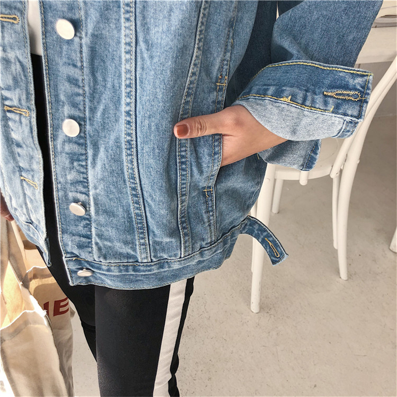 HTB1MA3ObiLrK1Rjy1zdq6ynnpXab YOCALOR Solid Jean Jeans Jacket For Women Loose Casual Blue Women Coats Female Outwear Denim Feminine Chaqueta Mujer Coat Autumn