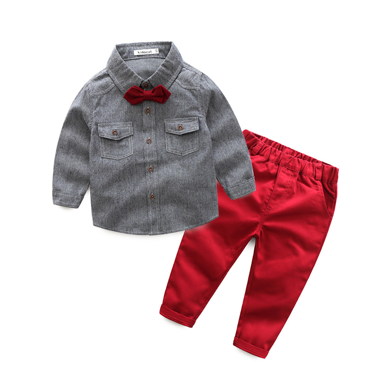 2017 Boys Clothing Set Casual Bow Tie Striped Shirts+Pants 2Pcs Suits For Boys Autumn Gentleman School Costume Kids Clothing