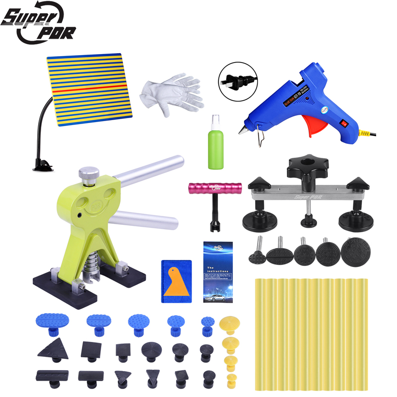 Super PDR Tools Kit Auto Dent Pullers Suction Cup Paintless Dent Removal Tool Set Dent Pulling Bridge Glue Tabs For Hot Glue Gun pdr tools for car kit dent lifter glue tabs suction cup hot melt glue sticks paintless dent repair tools hand tools set