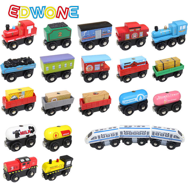 Edwone New 22 Designs Wood Magnetic Trains Car Locomotive Toy Mini Tender Fit Biro Thomas Tracks Educational Model DIY