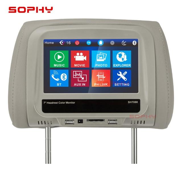"""¡Nuevo! 7 """"coche reposacabezas Monitor MP4/MP5 almohada Monitor con Bluetooth IR FM pantalla táctil Panel de carga del teléfono"""