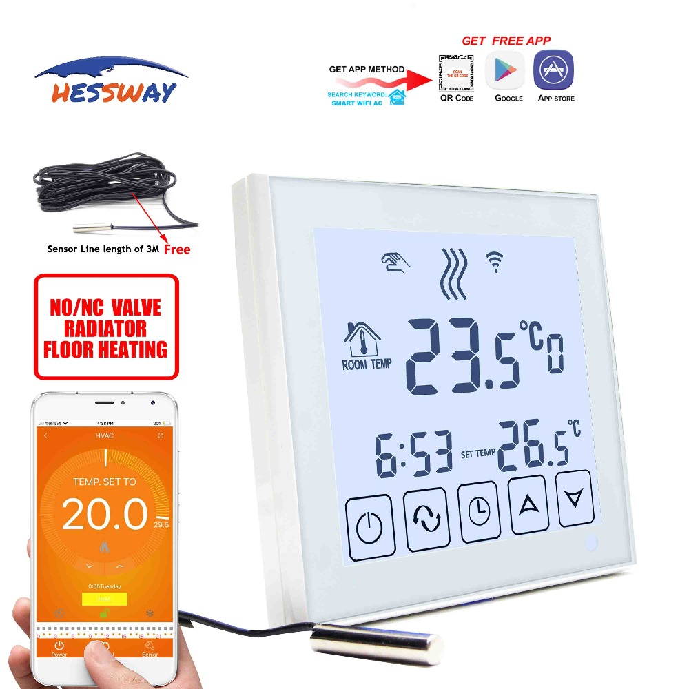 HESSWAY voice interaction NO/NC thermostat heating wifi for Water valve,Electric actuator,radiator Valve