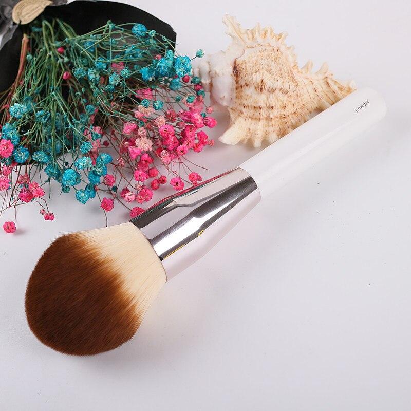 Gama alta de gran tamaño maquillaje polvo cepillo marca suave precisión impecable Fundación Blush cepillos Color blanco