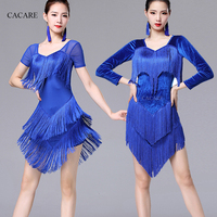 Latin Dance Dress Women CHEAPEST Salsa Dress Tango 6 Choices D0395 Tassels Short or Long Sleeve