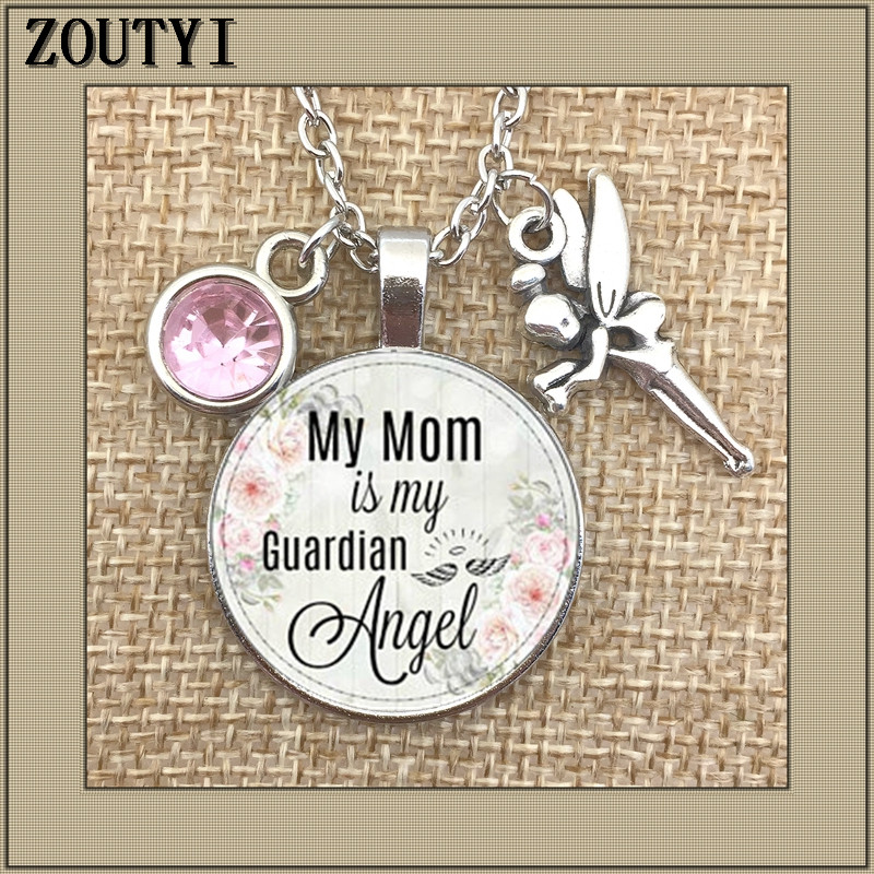 Mom, my mother is guardian angel, commemorating charm, in memory, losing mother, angel birth stone necklace
