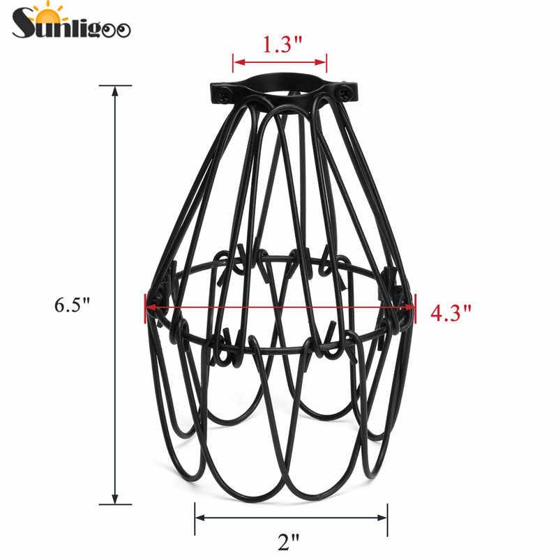 Sunligoo E27 Iron Art Pendant Light Fitting,Industrial Black Metal Bird Cage Lampshade Ceiling Light for Kitchen Dining Room Bar