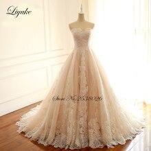 Liyuke Bordados Strapless A Line vestido de Noiva Vestido de Rendas Print Floral Elegante Laço De Vestido de Noiva com Trem Tribunal