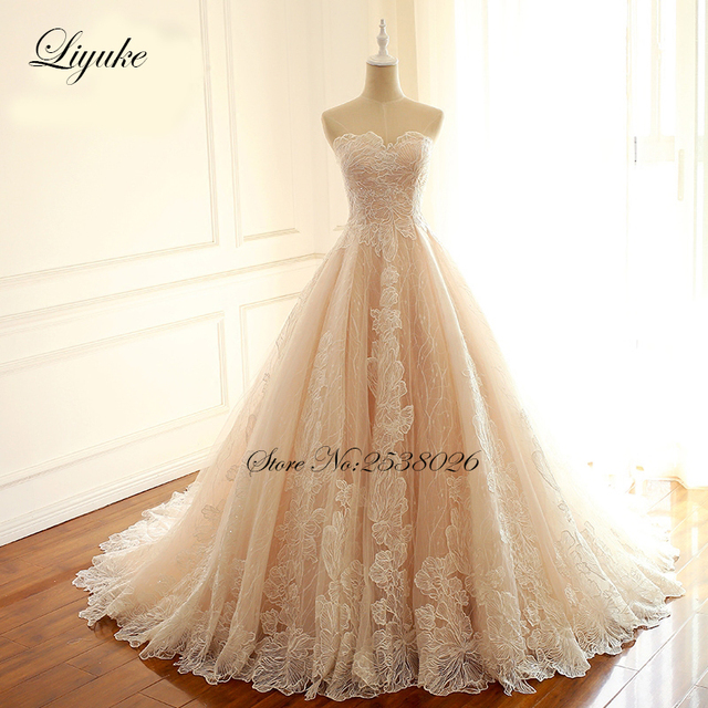 Liyuke Embroidery Strapless A Line Wedding Dress Floral Print Lace Elegant Bridal Dress  Lace Up with Court Train