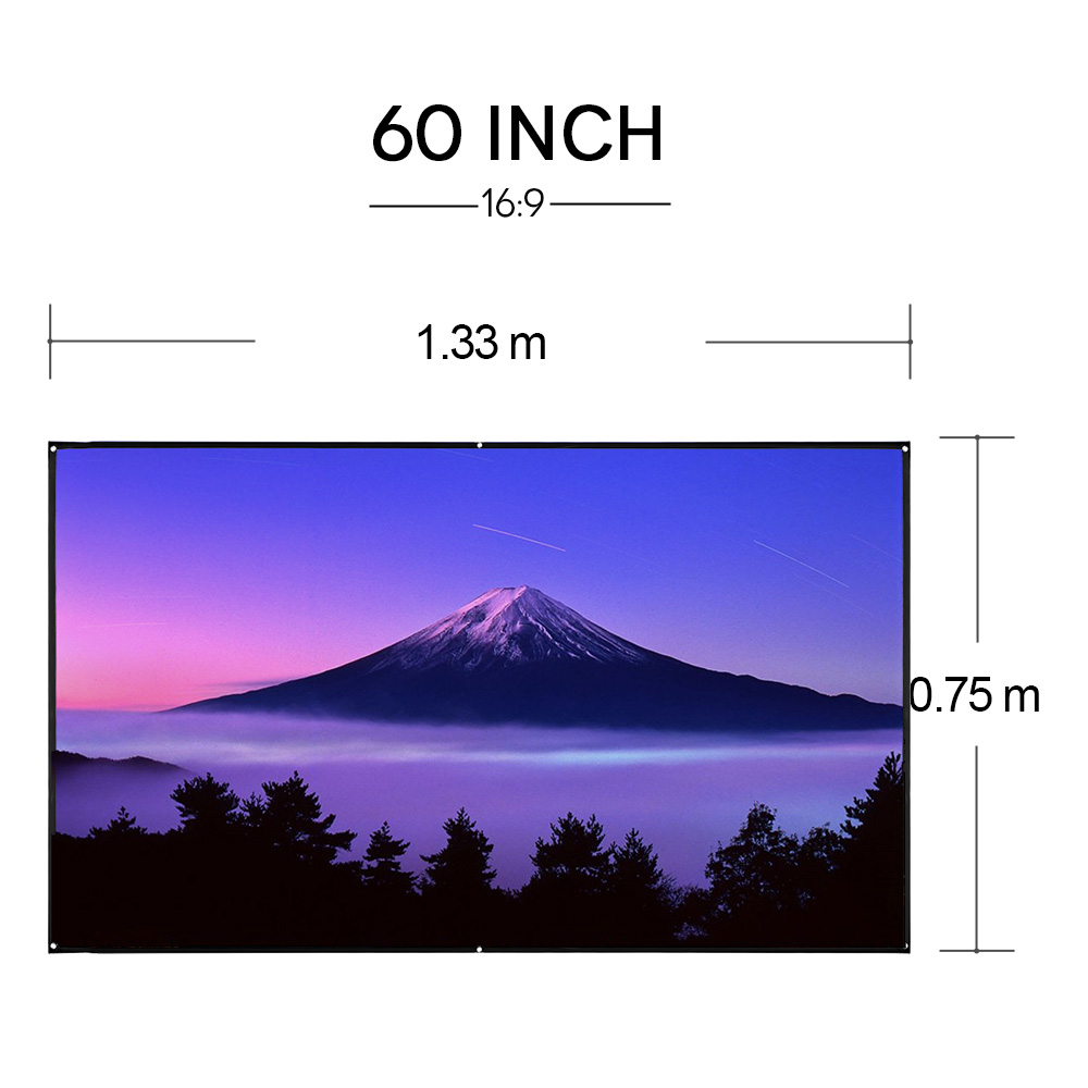CAIWEI Portable fabric Screen for Projector 60 inch Projection Screen film Wall Screen 16:9 Outdoor Movie display