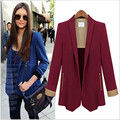 2017 Women Blazers And Jackets Long Sleeve No-Button Zipper Pockets Slim Blazer Contrast Color Cuff Career Office Wear WT677-S