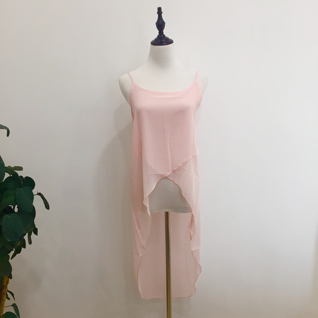 Women Robe Sexy Casual Pink White Sling Strap Chiffon Beach Dress