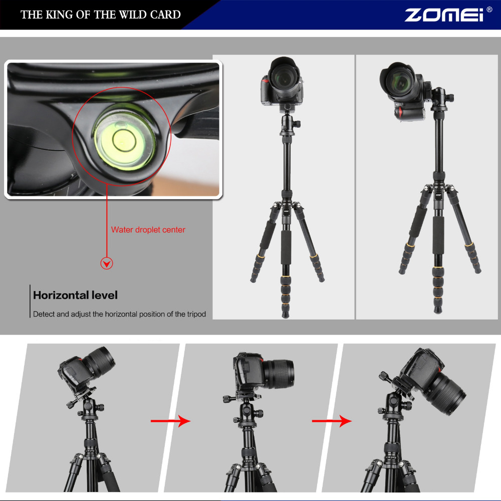 Image 4 - ZOMEI lightweight Portable Q666 Professional Travel Camera Tripod Monopod aluminum Ball Head compact for digital SLR DSLR camera-in Live Tripods from Consumer Electronics