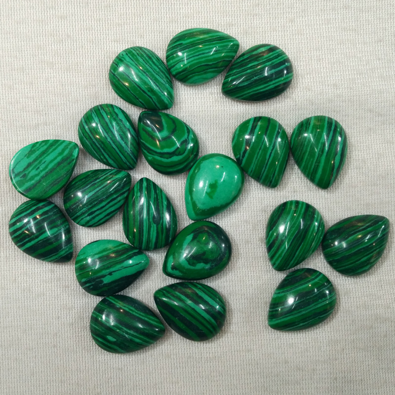 Wholesale 30pcs/lot 15x20mm fashion malachite stone drop CAB CABOCHON beads for DIY jewelry accessories making free shipping