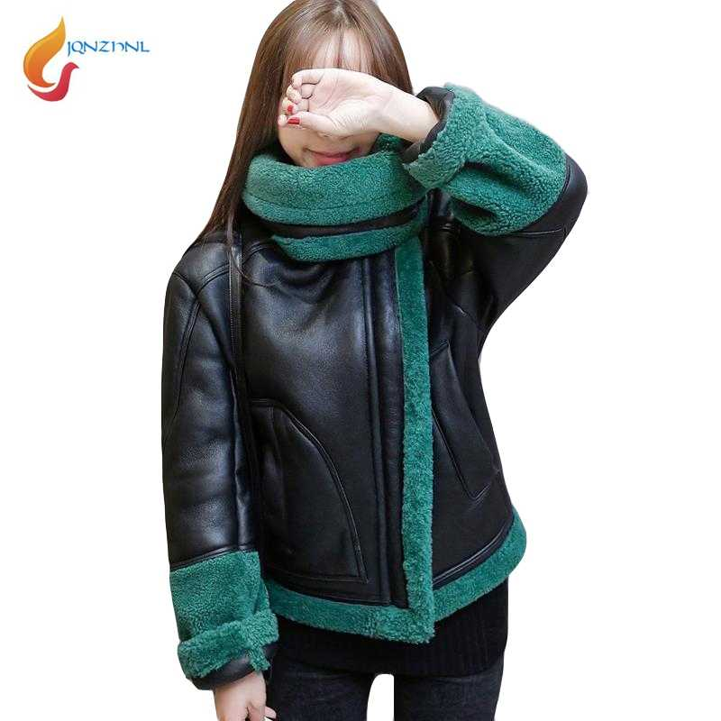 JQNZHNL Winter Leather Cotton Coats Outerwear 2019 New Women Warm Thicken Lamb Wool Cotton Jackets Motorcycle Leather Coats L611
