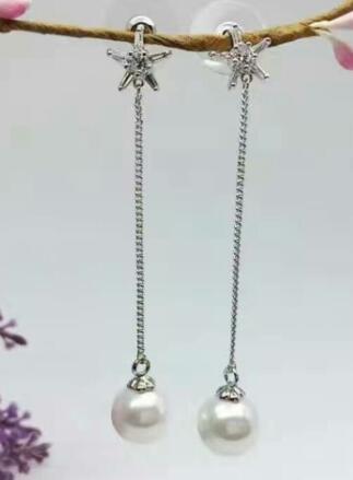 Bijoux de mariée livraison gratuite sellhot chaude vente 925 mode belle blanc cristal étoile à Cinq branches et perle Bijoux boucles d'oreilles - 3