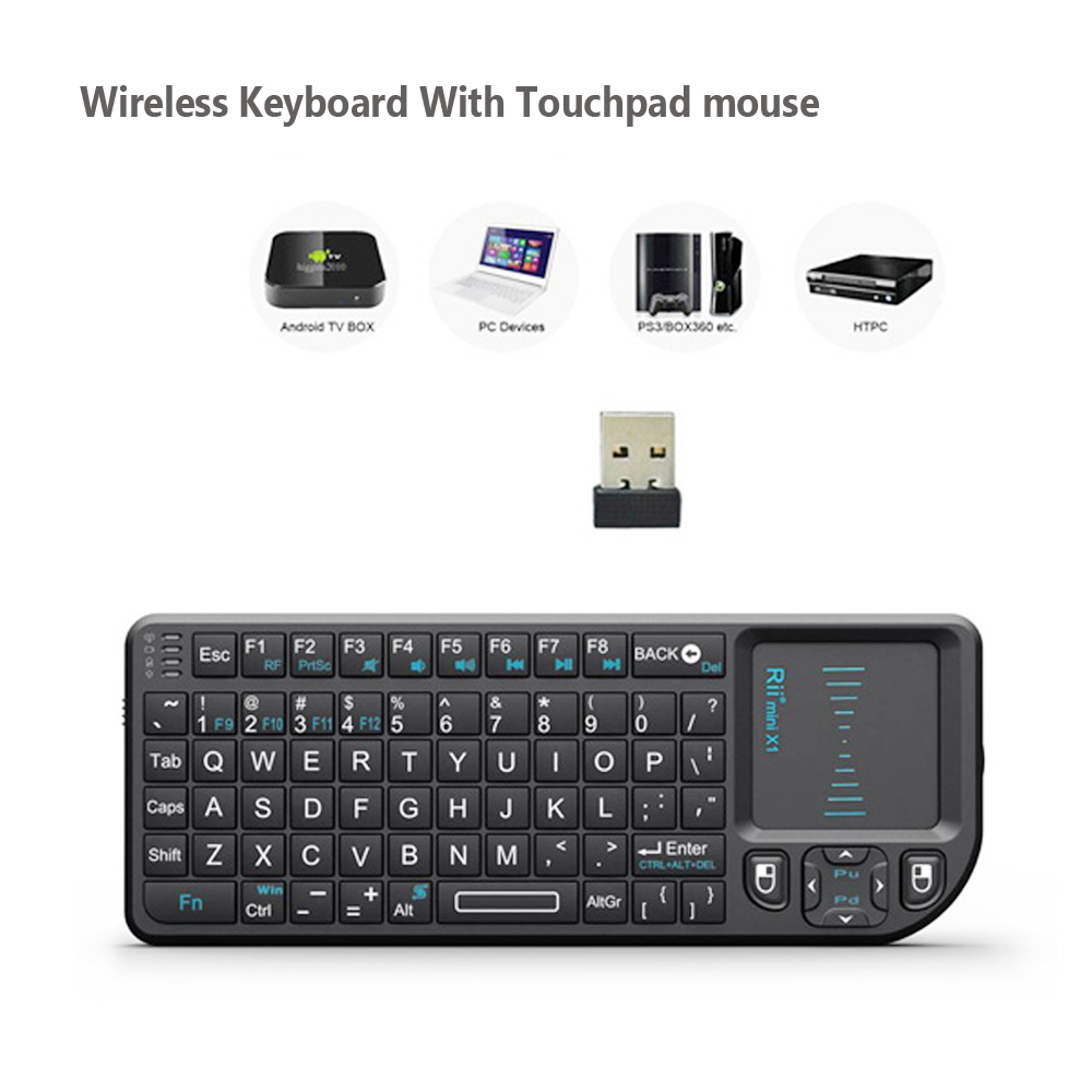 Original Rii X1 2.4GHz Mini Wireless Keyboard English Keyboard with TouchPad for Android TV Box/Mini PC/Laptop image