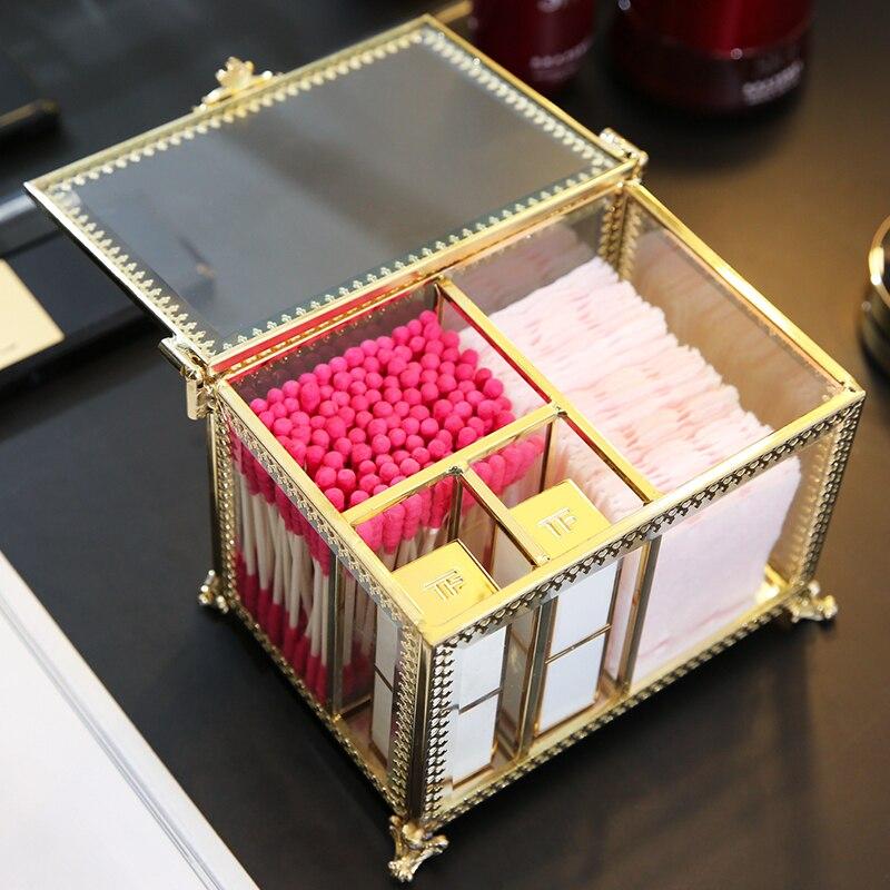 ANFEI Neue Retro Exquisite Glas Lagerung Box Organizer Make-Up Schmuck Ring Ohrring Lagerung schatulle Dekorative Dressing Tisch C218