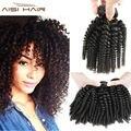 3 Pacotes Lida Encaracolado Afro Crespo Onda Espiral Weave Do Cabelo Humano cabelo Crespo Cabelo Virgem Peruano Onda Funmi tia Cachos Saltitantes cabelo Fumi