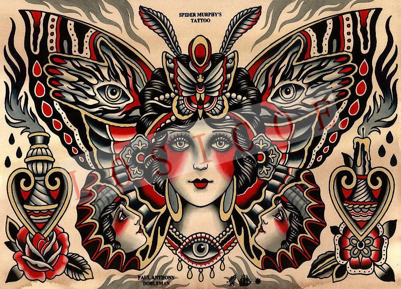 Etiqueta engomada de la pared de los pósteres del patrón creativo del tatuaje de alta calidad 30X42 CM