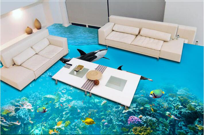 Charmant 3 D Flooring Custom Of 3d Bathroom Flooring Wall Paper The Sea Dolphins  Wallpaper 3D Flooring Paintings 3d Wall Murals Wallpaper In Wallpapers From  Home ...
