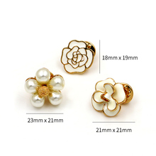WEIMANJINGDIAN Set of 5 Pieces Enamel and Simulated Pearl Flower Brooch Pins for Handbags or Shoes Fashion Jewelry Accessories
