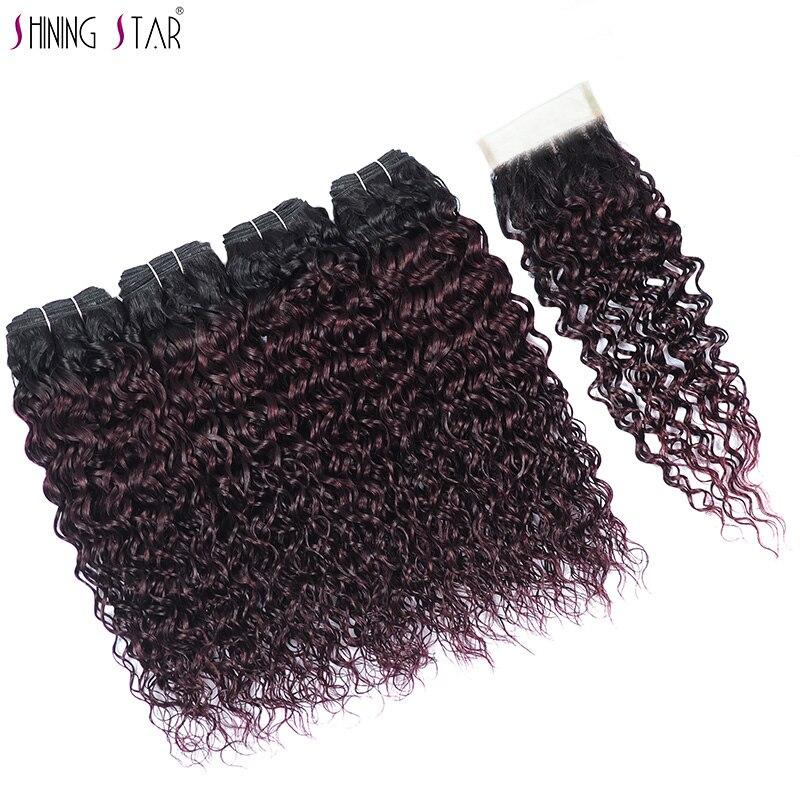 Shiningstar 4 Malaysian Hair Bundles With Closure 1B 135 Grape Purple Ombre Human Hair Water Wave