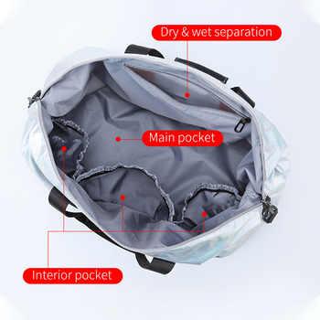 Bags Glossy Fitness Travel Bags Dry Wet Tas Handbags Women Gym Bag With Shoes Pocket Traveling Sac De Nylon Big Bag XA742WB