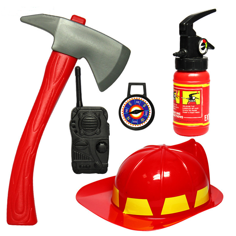 Power Tools Aggressive 1 Set Pretend Play Toys For Children Brave Little Fireman Cosplay Games Educational Toy Hat Axe Fire Extinguisher Gifts For Baby Relieving Heat And Sunstroke