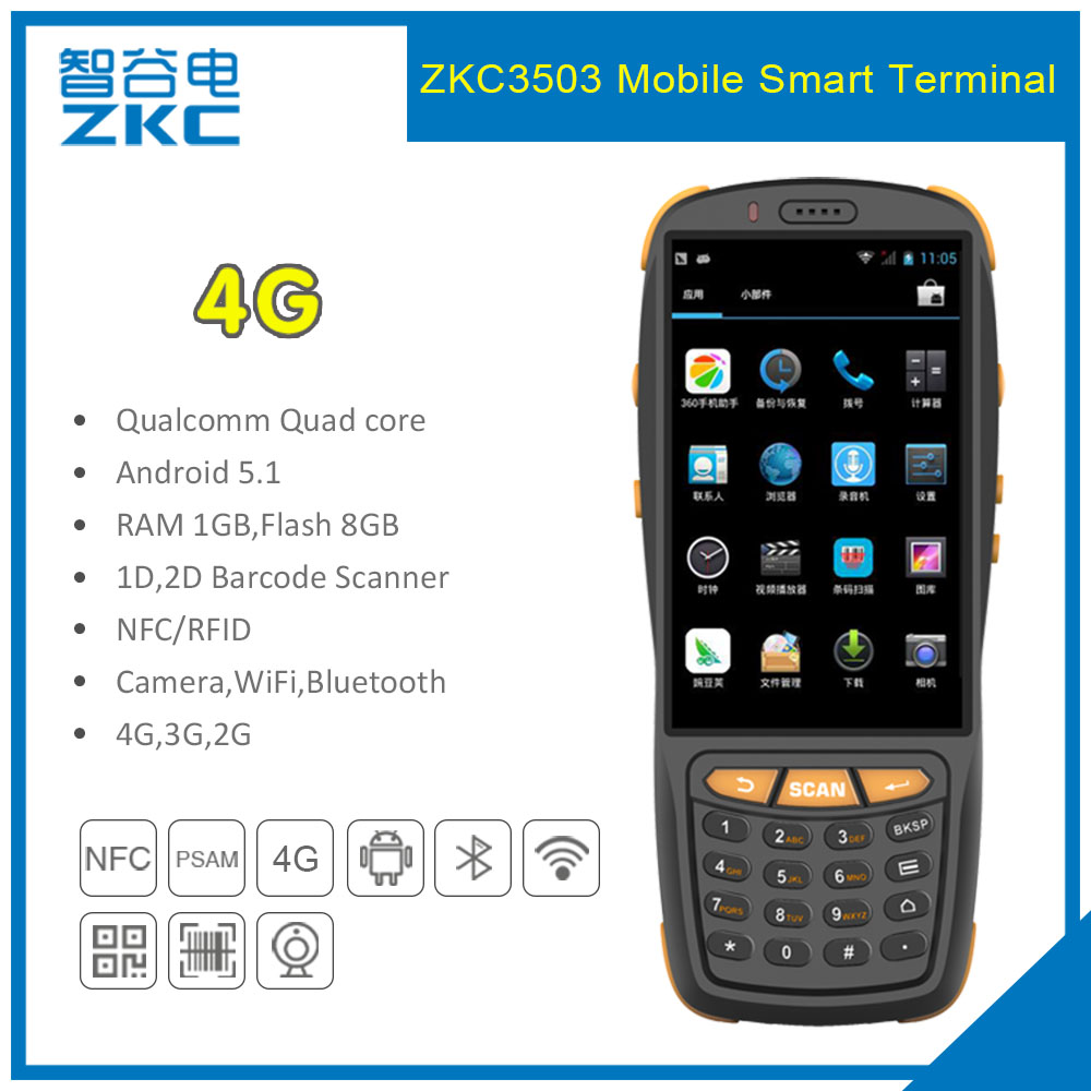 US $179 0 |ZKC PDA3503 GSM 3G 4G WiFi Android Handheld NFC Payment Terminal  with 1D Laser Barcode Scanner-in Scanners from Computer & Office on