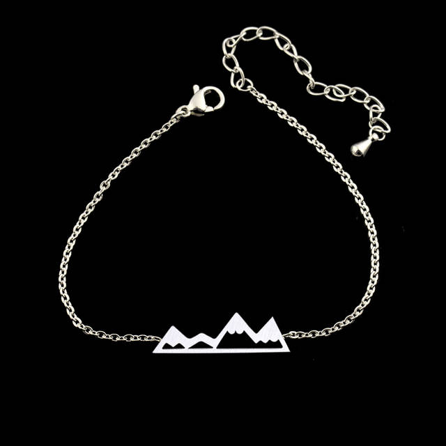 US $1 84 20% OFF|Stainless Steel Silver Mountain Men Bracelet Rose Gold  Color Chain Hiking Bracelets For Women Adventure Jewelry Pulseras Mujer-in