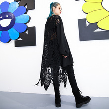 Oversized Women Punk Gothic Streetwear Long Sleeve Dresses Female Back Perspective Hollow Out Lace Spliced Long Black Dress black lace spliced hollow out romper